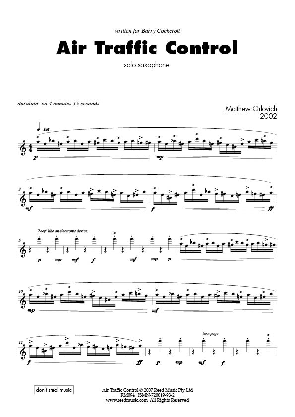 Air Traffic Control (for alto saxophone solo) – By Matthew Orlovich