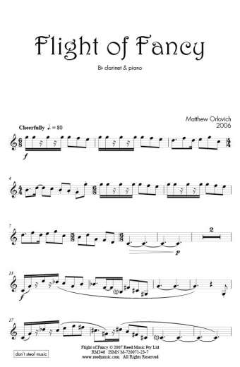 Flight of Fancy (for B-flat clarinet and piano) – By Matthew Orlovich