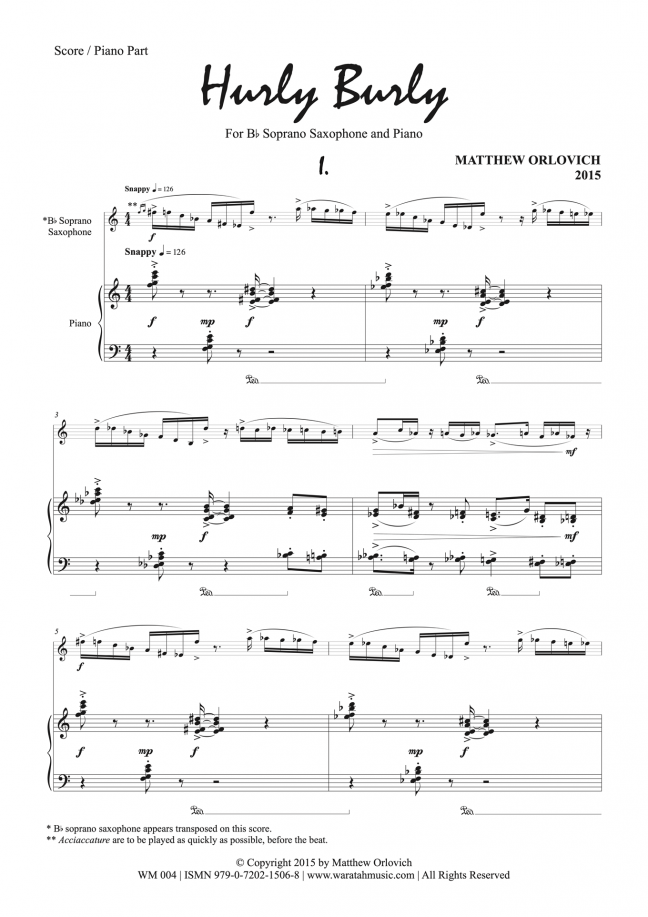 Hurly Burly (for soprano saxophone and piano) – By Matthew Orlovich – Score/Piano Part, p.1