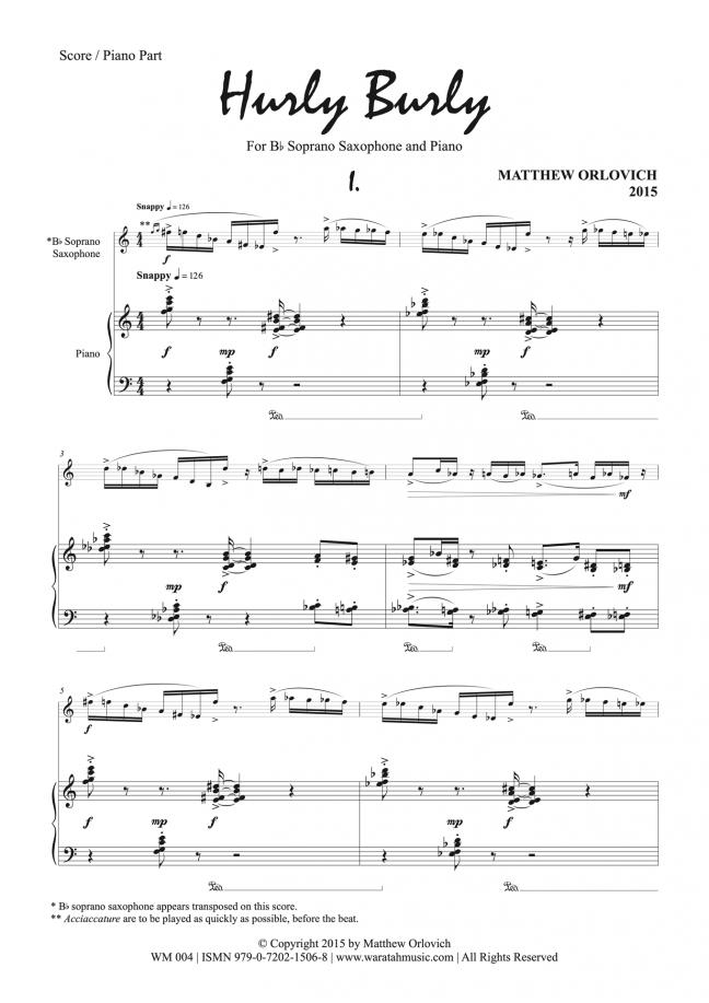 Hurly Burly (for soprano saxophone and piano) – By Matthew Orlovich – Score/Piano Part, p.1