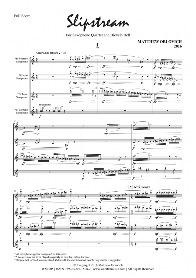 Slipstream (for saxophone quartet and bicycle bell) – By Matthew Orlovich – Score, p.1