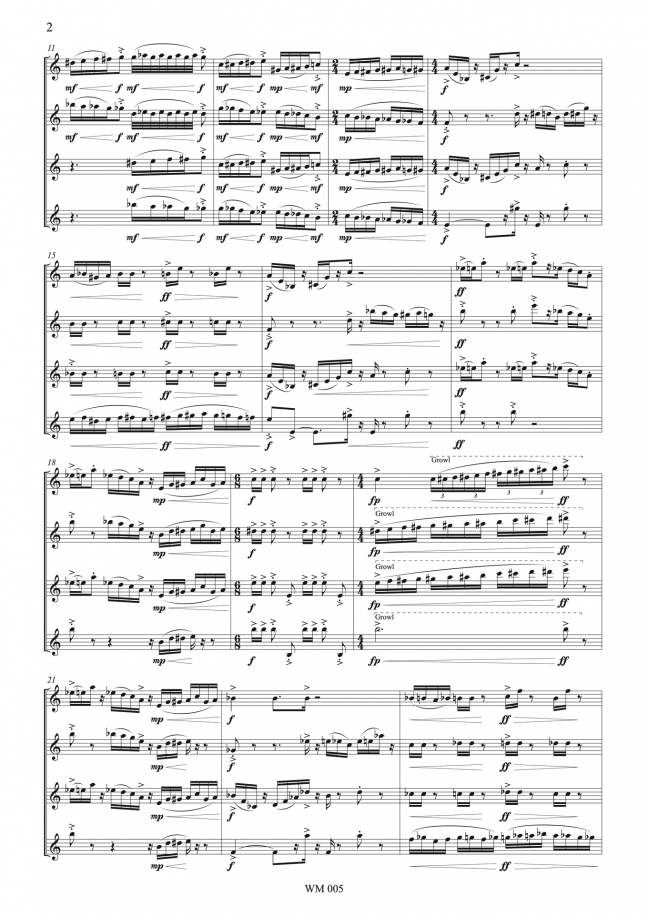 Slipstream (for saxophone quartet and bicycle bell) – By Matthew Orlovich – Score, p.2