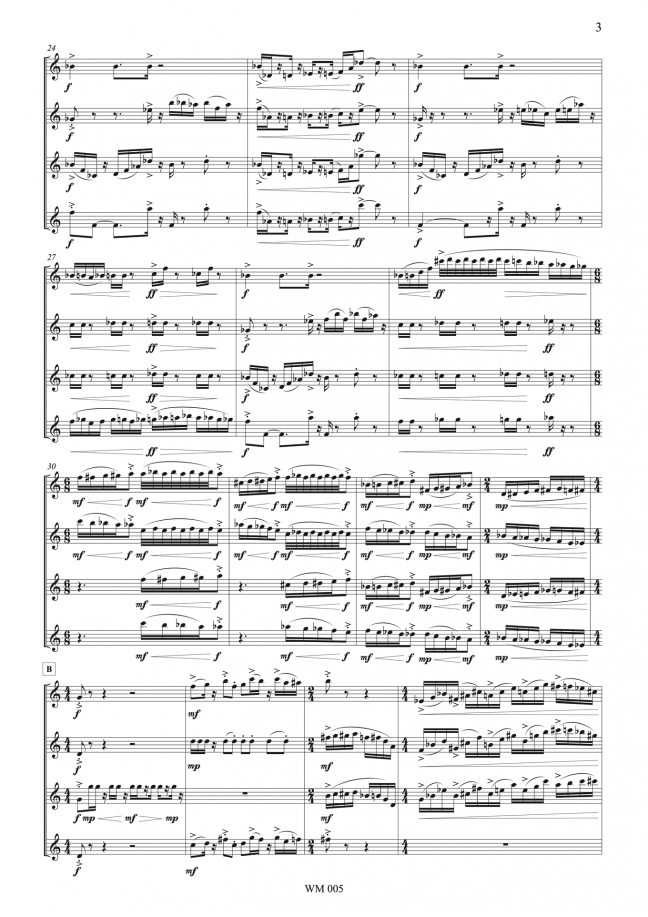Slipstream (for saxophone quartet and bicycle bell) – By Matthew Orlovich – Score, p.3