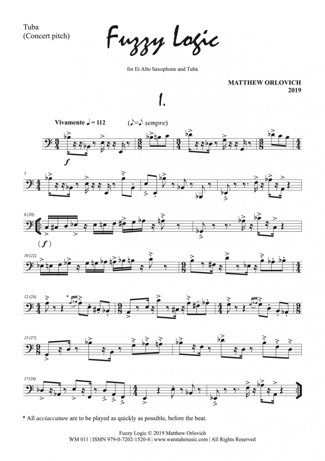 Fuzzy Logic (for alto sax and tuba) – By Matthew Orlovich – Tuba Part, p1.