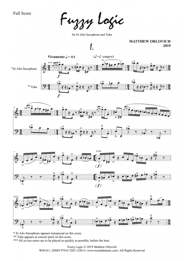 Fuzzy Logic (for alto saxophone and tuna) – By Matthew Orlovich – Score, p1.