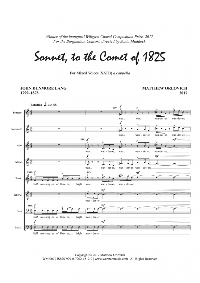 Sonnet, to the Comet of 1825: for mixed voices (SATB) a cappella, score p.1 – By Matthew Orlovich