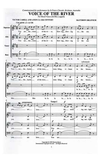 Voice of the River for mixed voices (SATB), a cappella – By Matthew Orlovich.