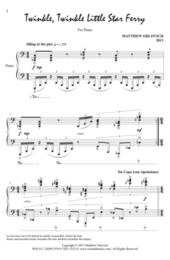 Twinkle, Twinkle Little Star Ferry (for piano), p2 – By Matthew Orlovich.