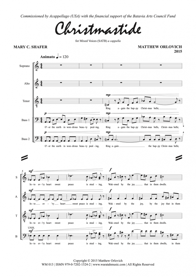 Christmastide for Mixed Voices (SATB) – By Matthew Orlovich.