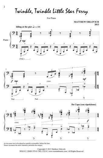 Twinkle, Twinkle Little Star Ferry (for piano), p1. – By Matthew Orlovich.