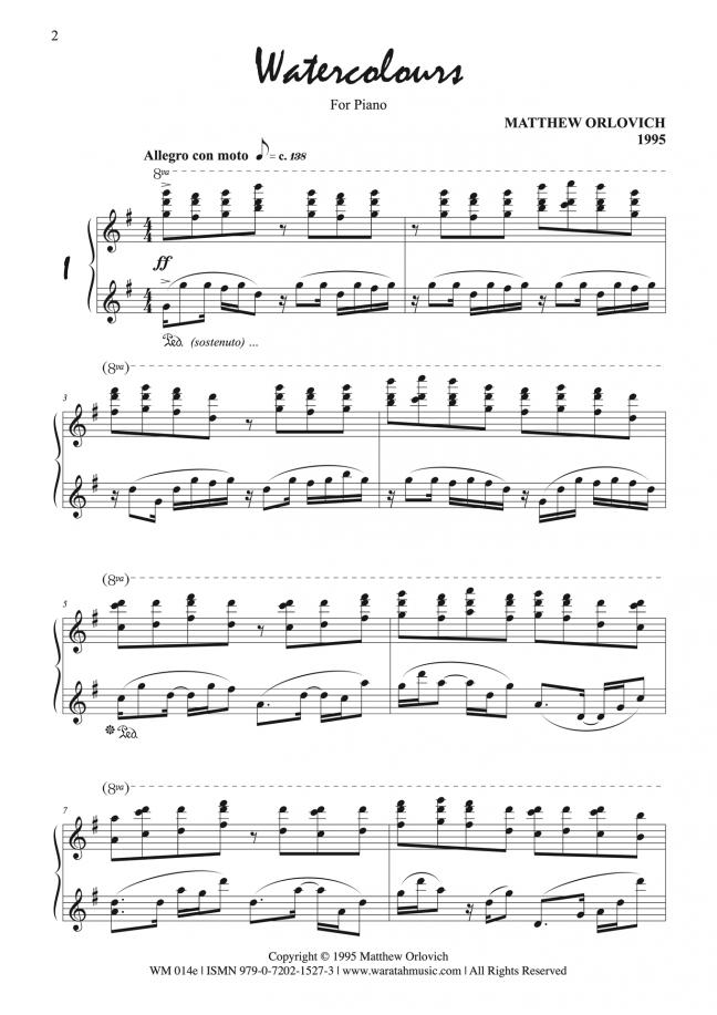 Watercolours (for piano) – p2 – By Matthew Orlovich.