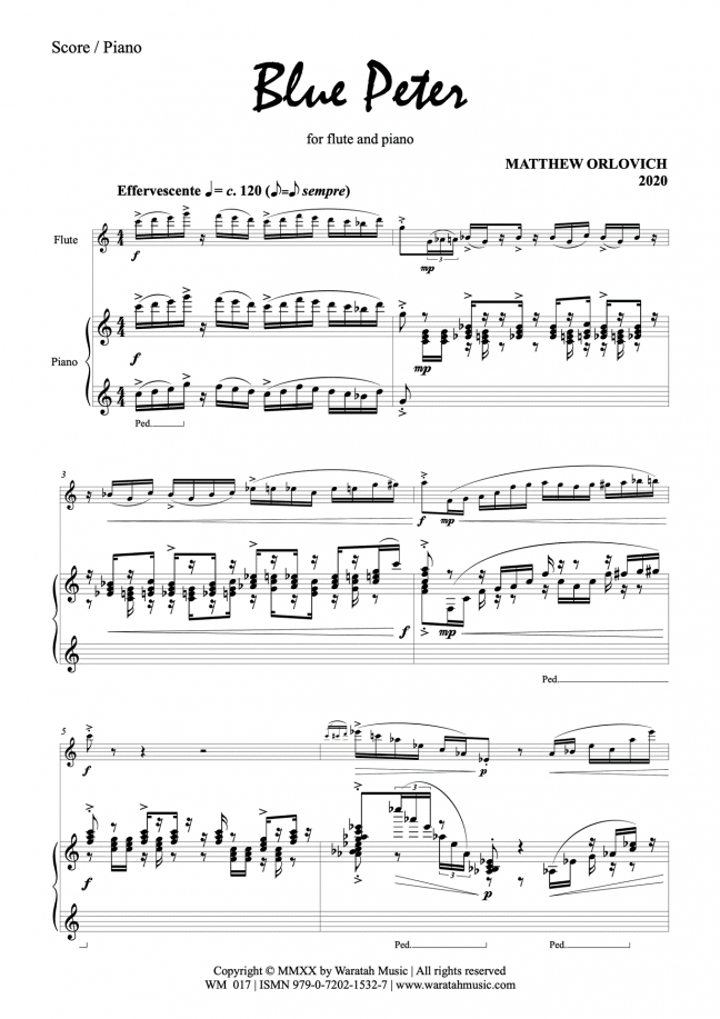 Blue Peter (for flute and piano) – by Matthew Orlovich (score, p.1)